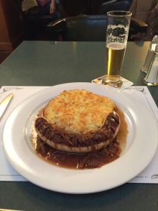 Rosti, sausage, small beer, superb setting
